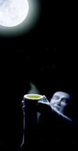 Monk offering tea to the moon