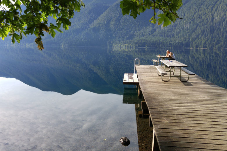 Morning tea on the dock at Lake Crescent