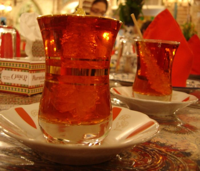 Persian tea with rock sugar swirlers
