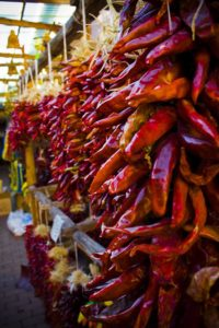 Chile ristras in market