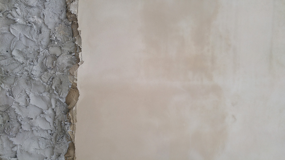Freshly plastered wall