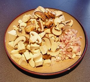 Sliced mushrooms and minced shallots