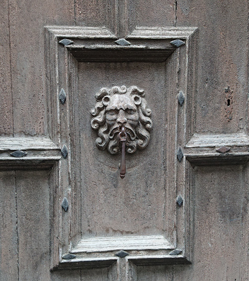 Grey lion door knocker