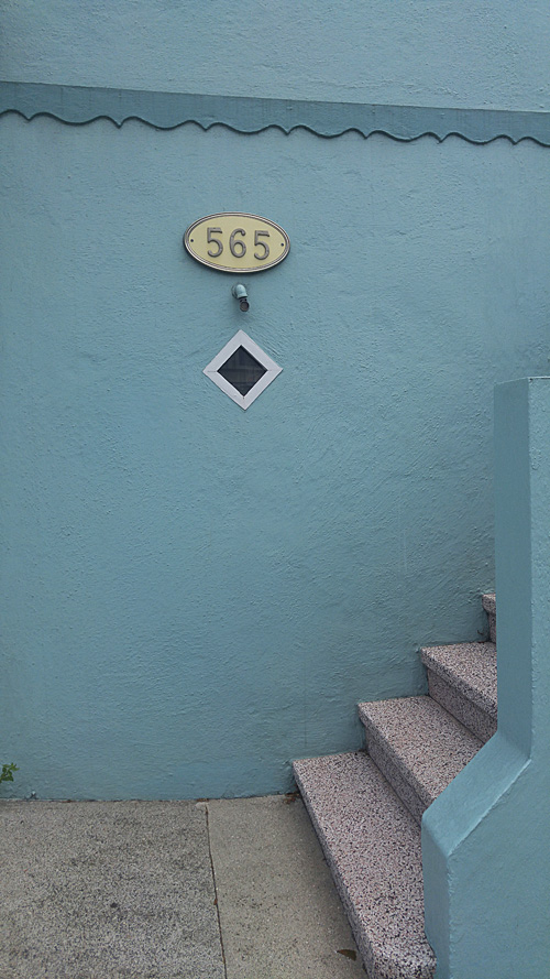 seablue stuccoed wall and steps