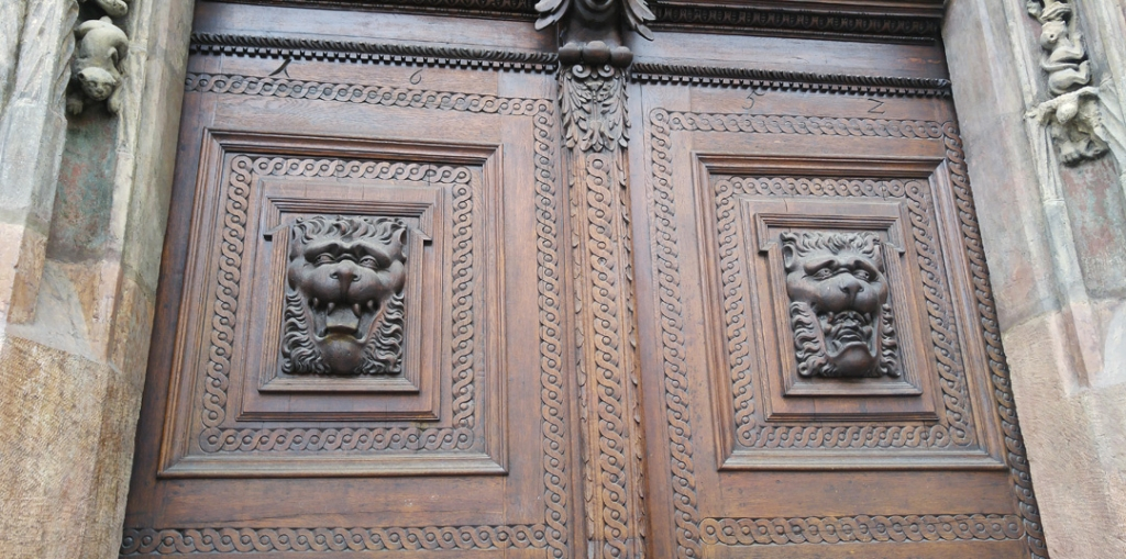Carved door and frame