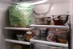 lettuce box loosely covered with plastic bag on top shelf of fridge