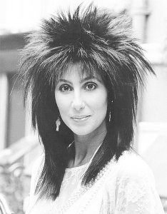 Cher with mullet hairdo, 1985