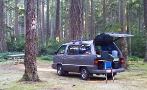 Toyota van with campstove