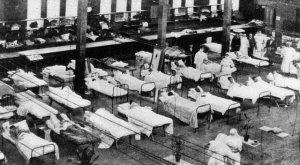 Hospital ward during Spanish flu pandemic