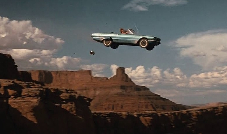Thelma and Louise driving off the cliff