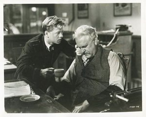 Mickey Rooney and Frank Morgan in a scen from MGM's production of The Human Comedy
