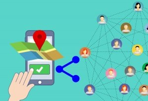 Graphic of a phone, map and a network of people