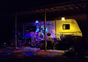 Colorfully lit rv