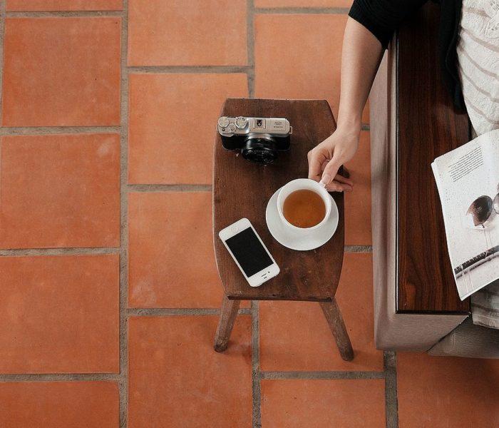 Tea, phone, camera; by curiousbino