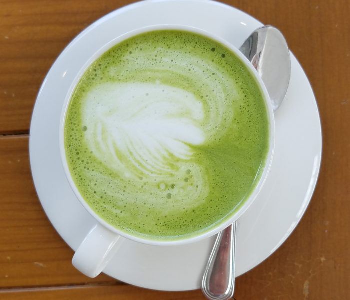 "A ""cappucino"" made with green tea in Nong Khai, Thailand"