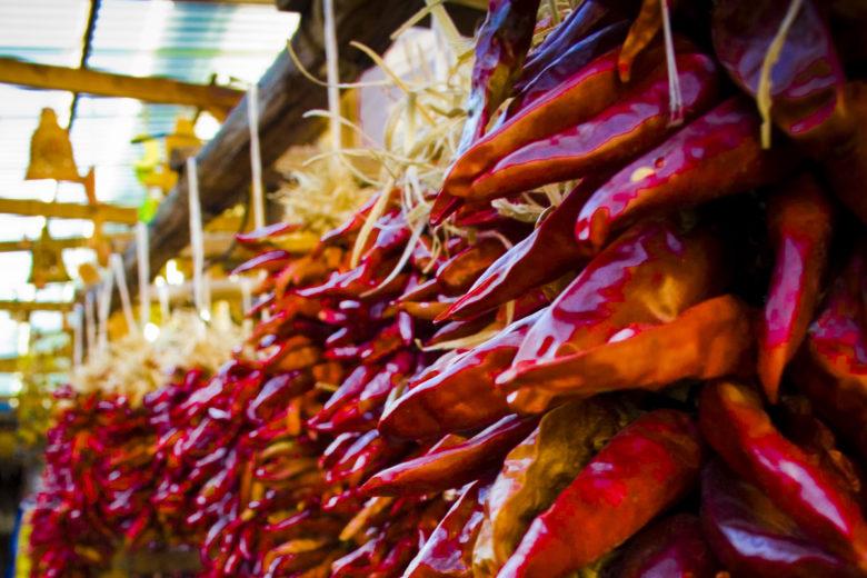 Dried New Mexico chiles in market. Photo by Kolin Toney