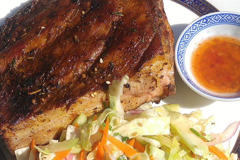 BBQ pork with slaw and sweet chili sauce