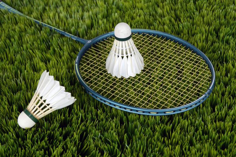 Badminton equipment on grass